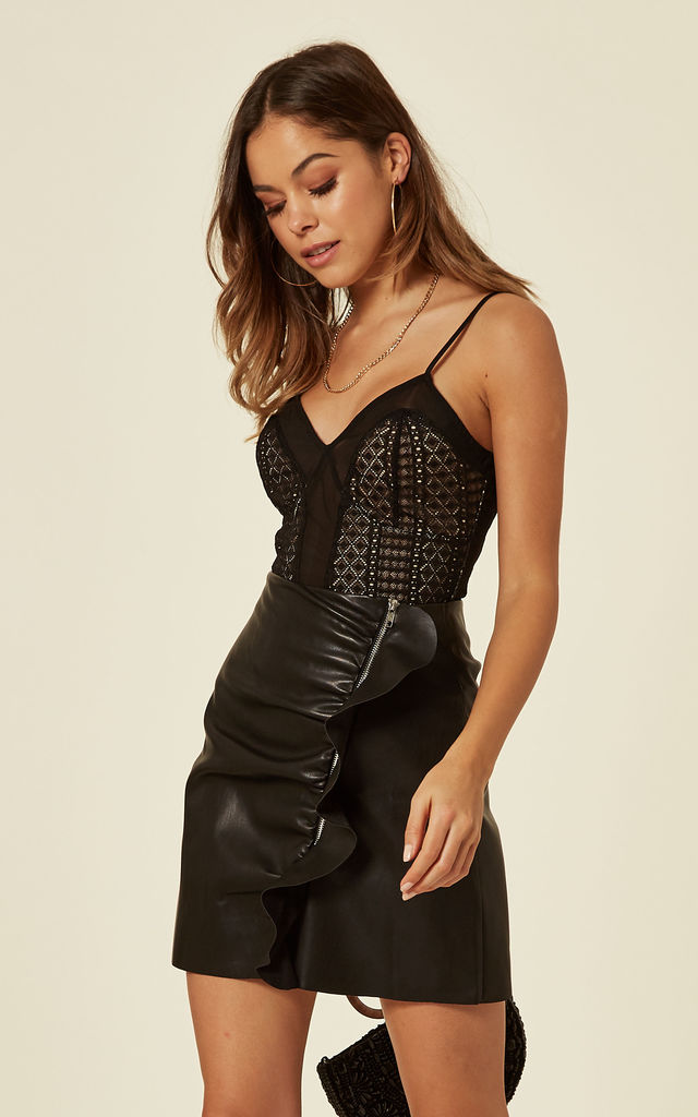Black Frill Detail PU Zipped Mini A-line Skirt by Mellie