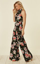 High Neck Wide Leg Jumpsuit-Midnight Tropics by House Of Lily