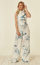 High Neck Wide Leg Jumpsuit- Sea Shores by House Of Lily