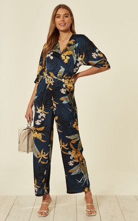 Petrol Blue Floral Tie Waist Jumpsuit With 3/4 Sleeves by Liquorish Product photo
