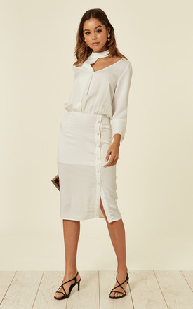 Choker Neck long sleeve White Midi Dress by Liquorish