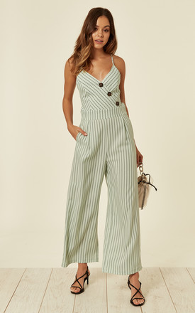 Pinstriped Buttoned Detail Strappy Light Green Jumpsuit With Tie Back by Liquorish Product photo
