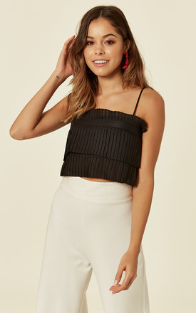 BLACK PLEATED CROP TOP by Oeuvre