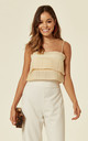 CREAM PLEATED CROP TOP by Oeuvre