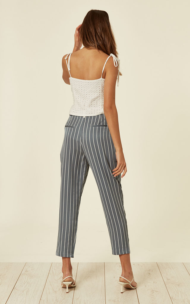 Pastel Blue and White Striped Peg Leg Trousers with Contrast Waist Band (with Self Belt) by Paisie