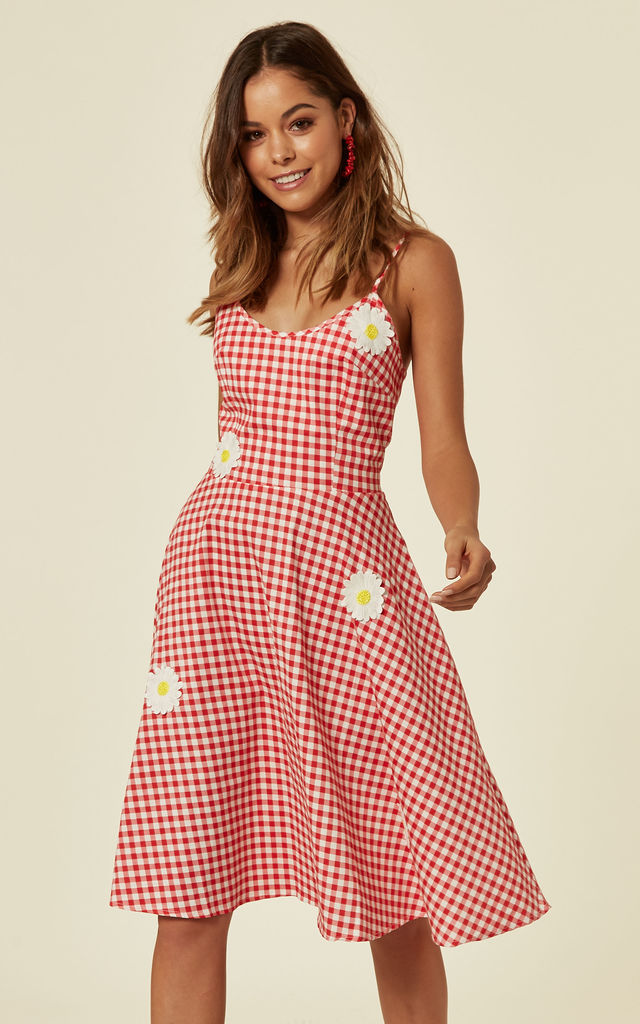 Dolly Gingham Flared Dress by Voodoo Vixen