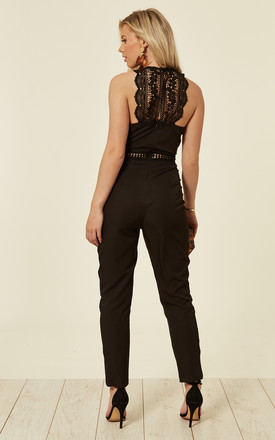 Lace Panel Jumpsuit n Black by Another Look