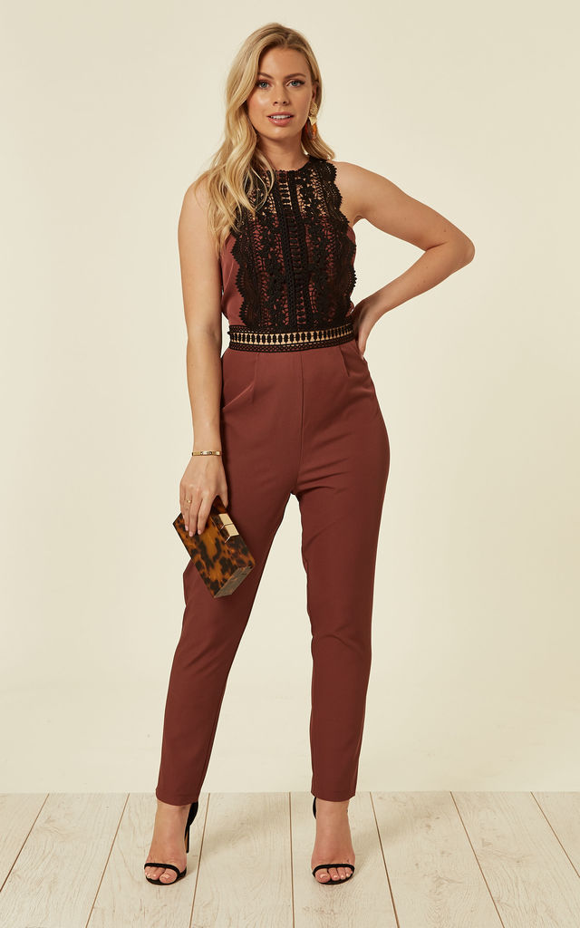 Lace Panel Jumpsuit in Rust by Another Look