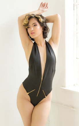 MODA Zipper Halter Neck Swimsuit in Black by Dolls Of Decadence