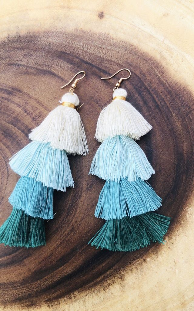Turquoise, blue, cream tassel fringe multilayer chandelier earrings by Lovelock jewels