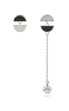 Black Mismatched Earrings With Sterling Silver Posts by With Bling Product photo