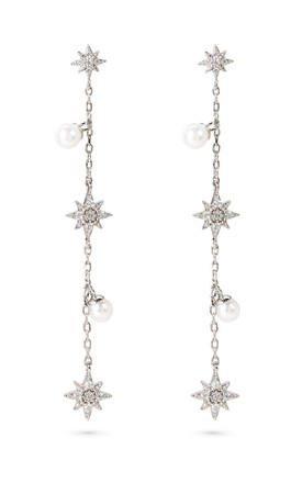 Sterling Silver Drop Earrings With Stars And Pearls by With Bling Product photo