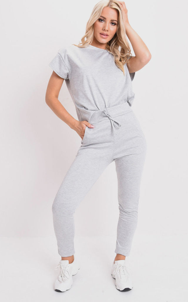Boxy short sleeve lounge co ord set grey by LILY LULU FASHION