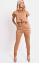 Boxy short sleeve lounge co ord set tan brown by LILY LULU FASHION