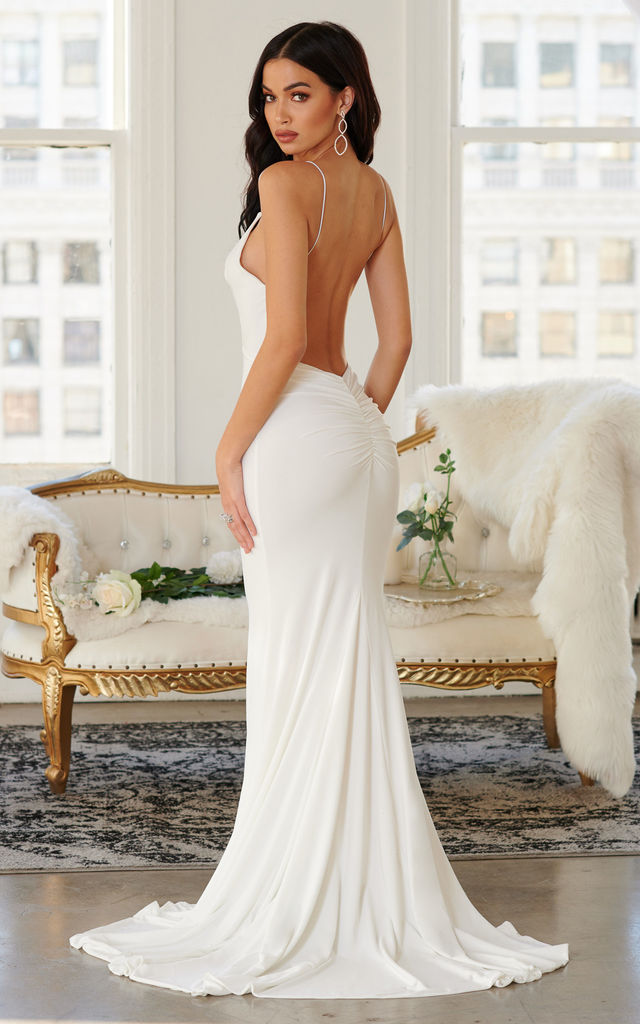 33de6103c13 White Backless Bum Ruched Fishtail Maxi Dress by Club L London