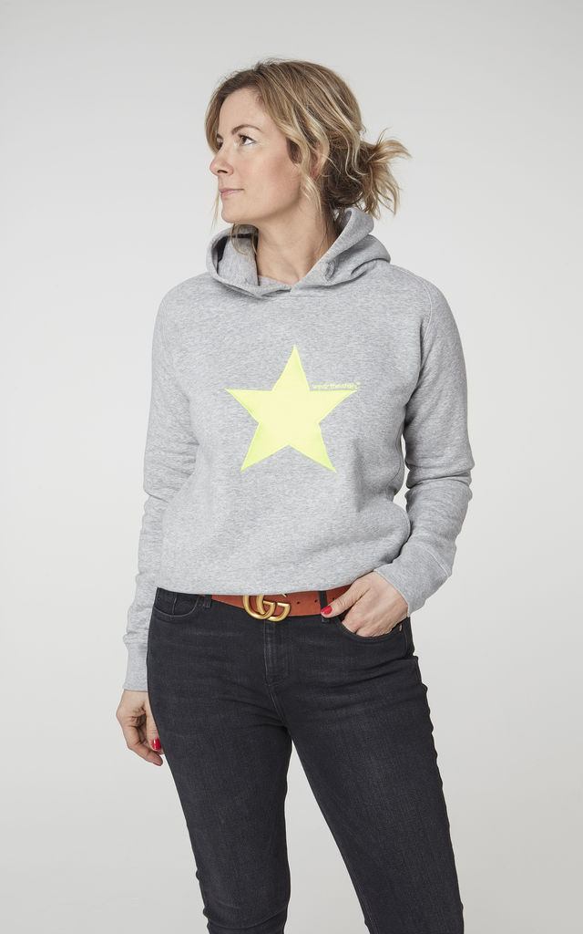 Meet our Grey Hoodie with Neon Yellow embroidered Star by Wear the Stars