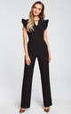 Black jumpsuit with ruffles on the sleeves by MOE