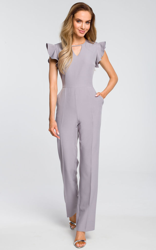Grey jumpsuit with ruffles on the sleeves by MOE