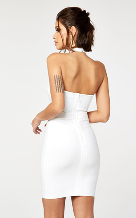 Asymmetrical Bandage Dress With Ring Detail in White by The Girlcode
