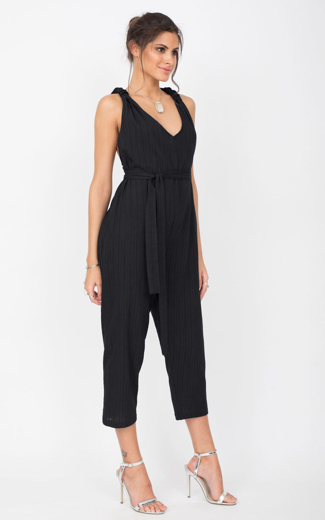 Racer Back Cropped Summer Jumpsuit Cotton Black by likemary