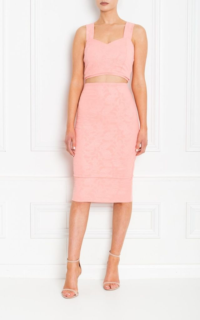 Nina Peach Floral Embossed Pencil Skirt by Honor Gold
