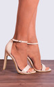Nude Patent Leather Stilettos Ankle Strap peep Toes Strappy Sandals High Heels by Shoe Closet