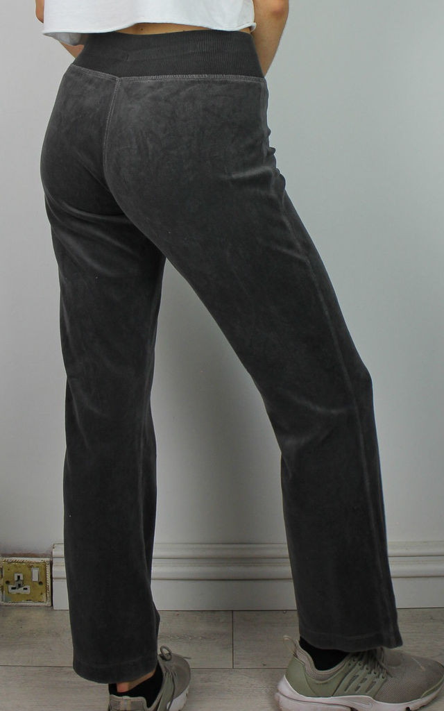 Vintage Velvet Velour Sweatpants Joggers Lounge Trousers - Dark Grey by Re:dream Vintage