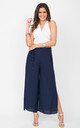 Side Split Holiday Trousers Wide Leg Navy by likemary