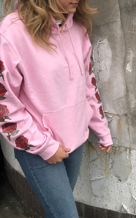 Red Rose Sleeve Hoodie in Light Pink by Save The People