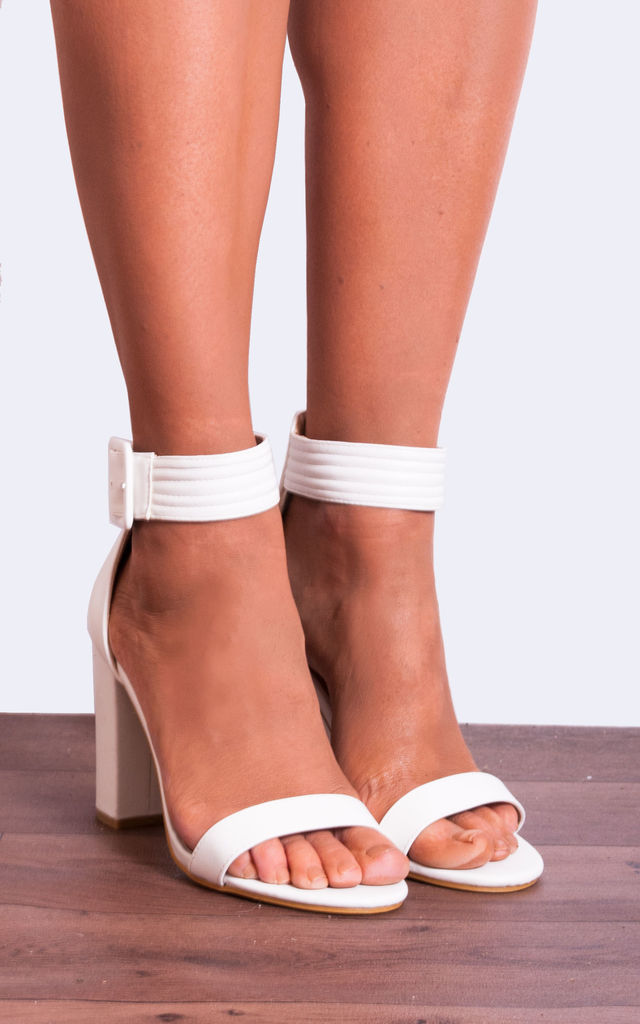 White Pu Leather Ankle Strap Strappy Sandals Peep Toes High Heels by Shoe Closet