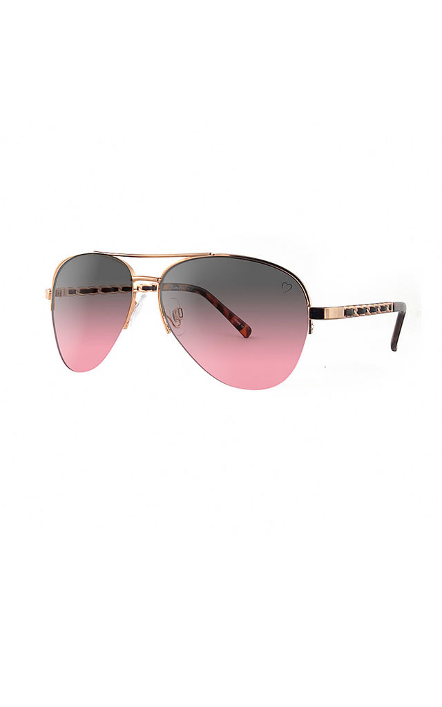NEW YORK Aviator Sunglasses with Black/Pink Lenses (RR53-3) by Ruby Rocks Sunglasses