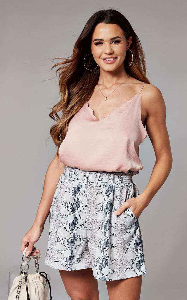 Cami Top with scallop neckline in blush pink by ONLY
