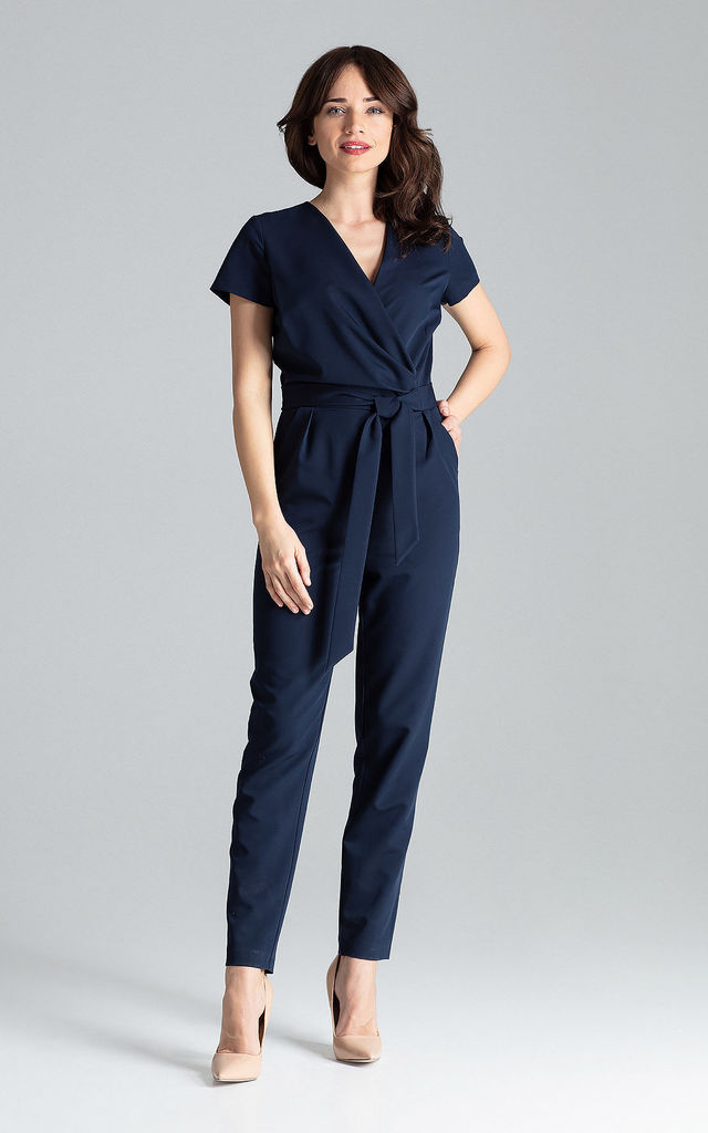 Navy Short-sleeved Jumpsuit With Long Legs by LENITIF