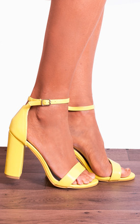 Yellow Barely There High Heel Sandals with Ankle Strap by Shoe Closet