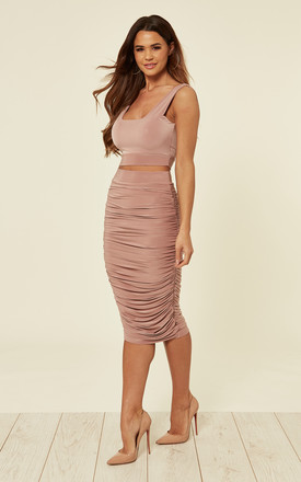 Coco Blush Sasha Ruched High Waisted Midi Skirt by Pleat Boutique