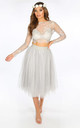 Midi Tulle Skirt In Grey by Dressed In Lucy