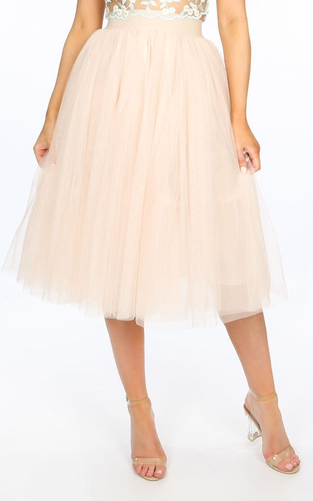 Midi Tulle Skirt In Beige by Dressed In Lucy