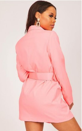 Neon Pink Double Breasted Blazer Dress by Hachu