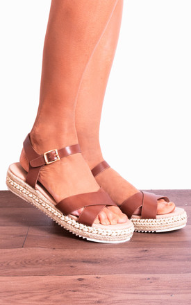 Tan Brown Peep Toe Flat Canvas Espadrilles With Straps by Shoe Closet Product photo