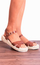 Tan Brown Peep Toe Flat Canvas Espadrilles with Straps by Shoe Closet