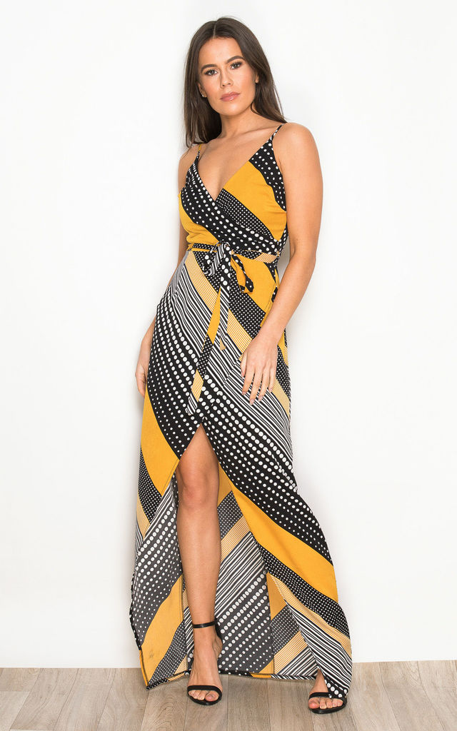 6e522a595901 Mia Wrap Maxi Dress Yellow Spot And Stripe Print | Girl In Mind ...