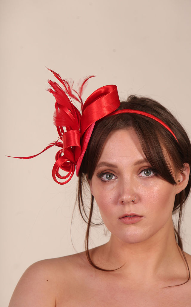 Ribbon & Faux Feather Fascinator Red by Xander Kostroma
