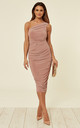 Coco Blush Rose Ruched One Shoulder Midi Dress by Pleat Boutique