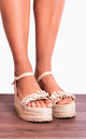 Beige Nude Frill Canvas Wedged Platforms Wedges Flatforms Strappy Sandals by Shoe Closet
