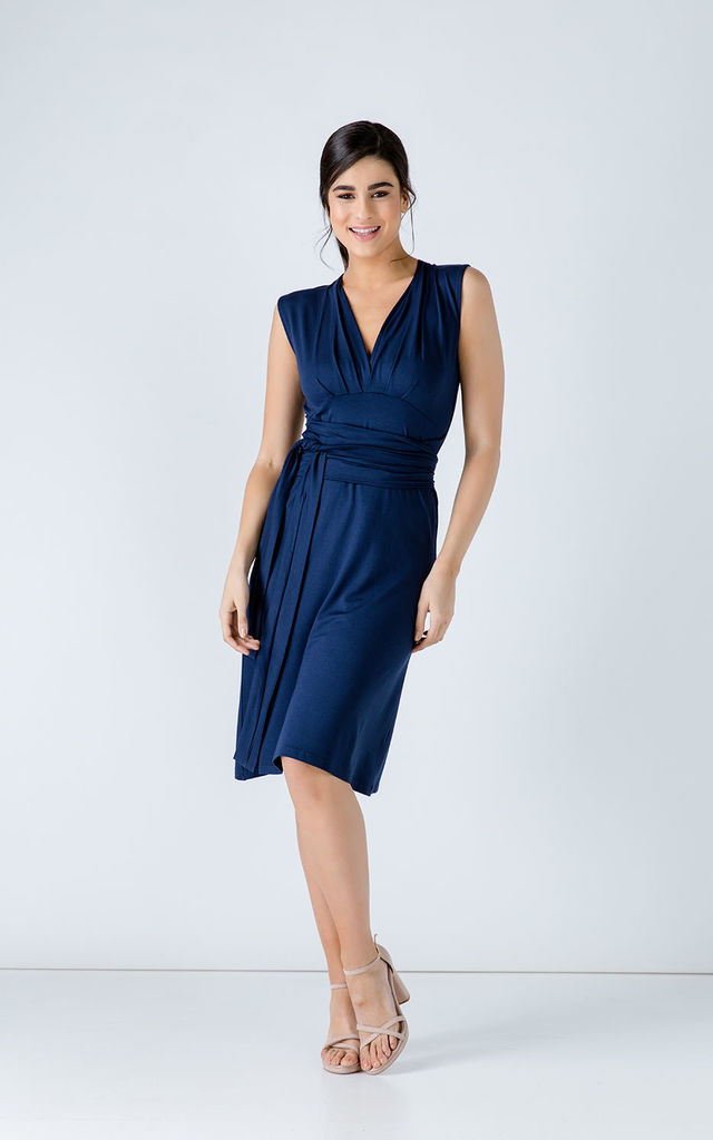 Sleeveless Blue Line Dress by Conquista Fashion