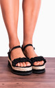 Black Frill Canvas Wedged Platforms Wedges Flatforms Strappy Sandals by Shoe Closet
