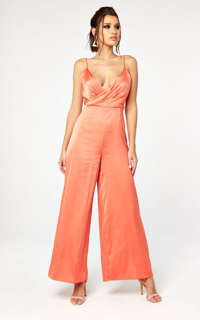 Satin Wrap Jumpsuit in Peach by The Girlcode