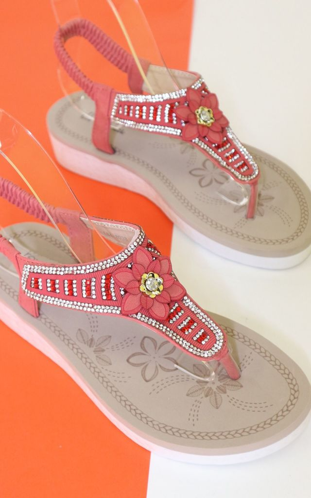 Red diamante flower sandals by Bond Street Shoe Company