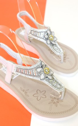 White jewel flower sandal by Bond Street Shoe Company