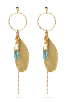 Khaki Bohemian Feather Earrings With Beads by With Bling Product photo